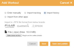 Import workout data history from Garmin, Polar, Runsense...