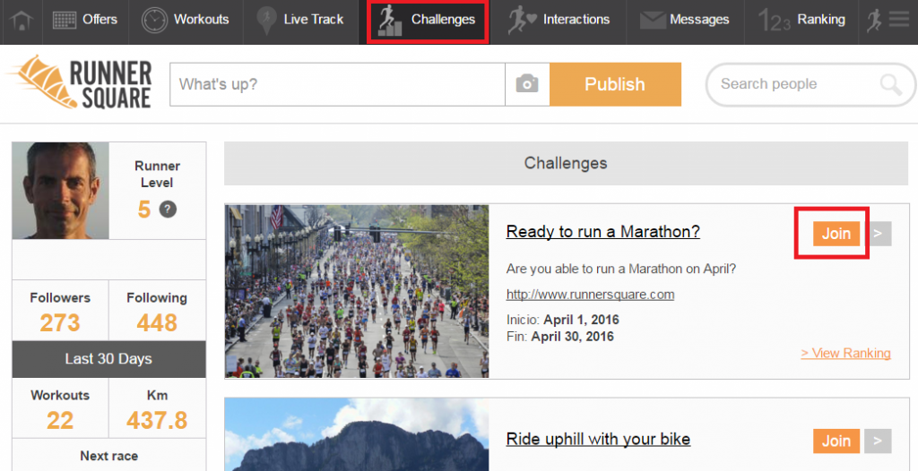 RunnerSquare Challenges Website Screen