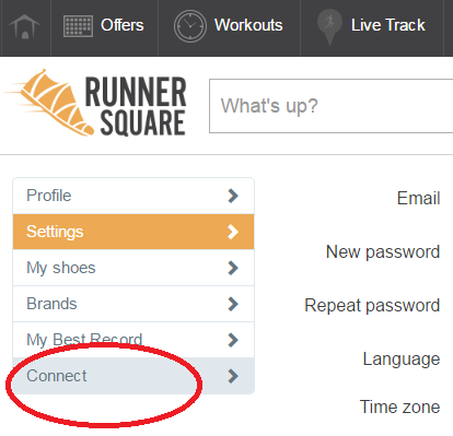 RunnerSquare Connect Settings